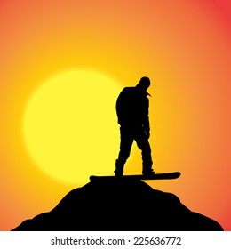 Vector silhouette of a man on a snowboard at sunset.