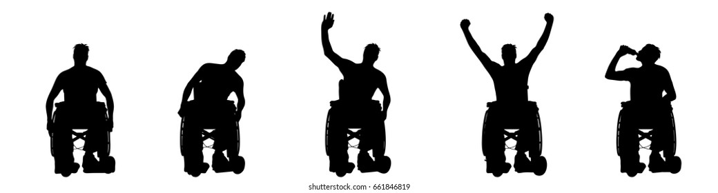 Vector silhouette of man on wheelchair on white background.