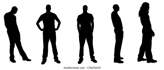 Vector silhouette of a man on a white background.