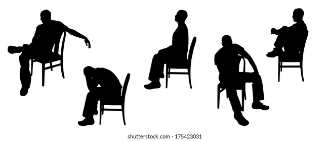 Vector silhouette of man sitting on chairs.