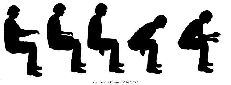 Vector silhouette of a man sitting on a white background.