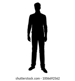 Vector silhouette of man  standing, business people, single, black color, isolated on white background