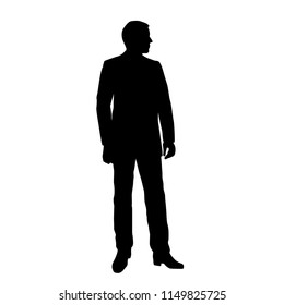Vector silhouette of man  standing, business people, black color,  isolated on white background