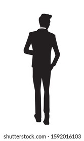 Vector Silhouette of a man standing or a business people isolated on a white background