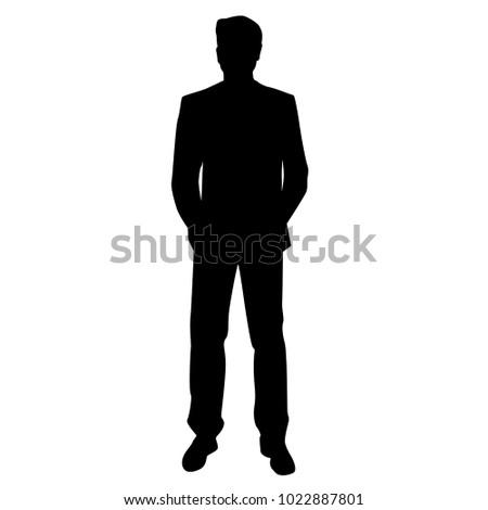 Vector Silhouette Man Standing Business People Vector de ...