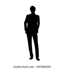 Vector silhouette of a man standing, businessman, black color, isolated on a white background