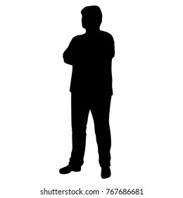 Vector silhouette of man standing, fat men,  black color, isolated on white background