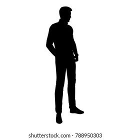 Vector silhouette of man standing, people,  black color, isolated on white background