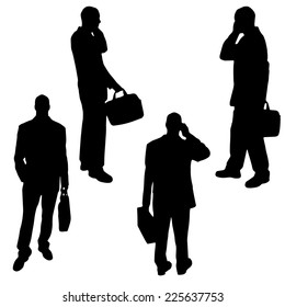 Vector silhouette of a man traveling with a suitcase.