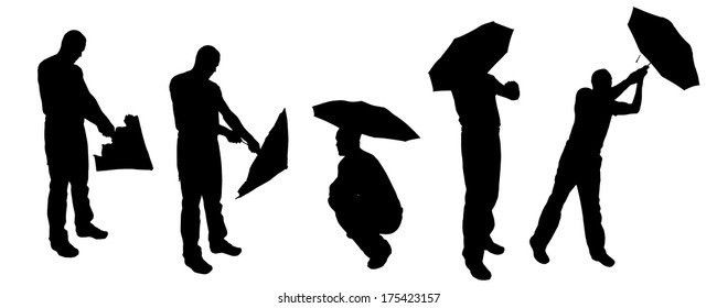 Vector silhouette of a man with an umbrella on a white background.