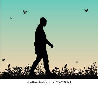 vector, silhouette man walking