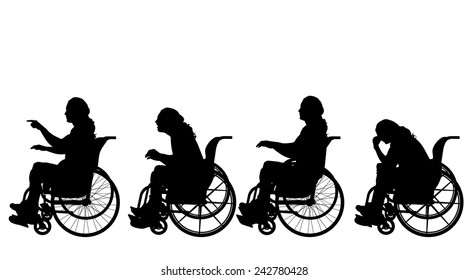 Vector silhouette of a man in a wheelchair.