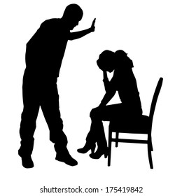 Vector silhouette of a man who berates women.