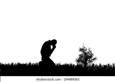 Vector silhouette of a man who cries in nature.