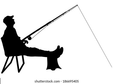 Vector silhouette of a man who fishes on a white background.