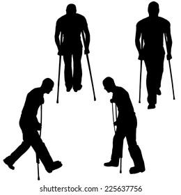 Vector silhouette of a man who has crutches.