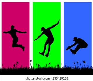 Vector silhouette of a man who jumps on a colored background.