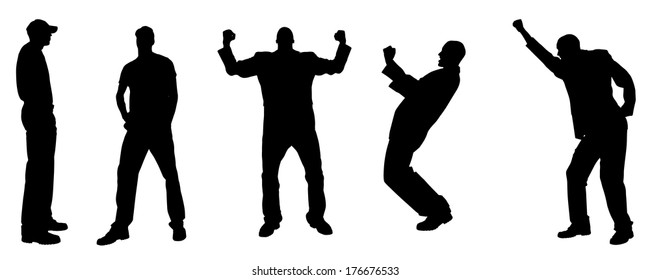 Vector silhouette of a man who rejoices on white background.