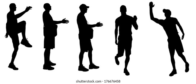Vector silhouette of a man who runs a white background.