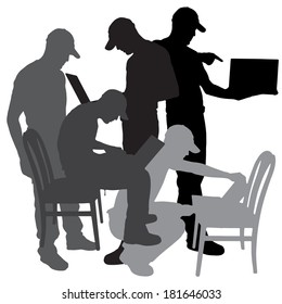 Vector silhouette of a man who is sitting on a chair on a white background.