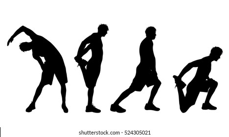 Vector silhouette of man who sports on white background.