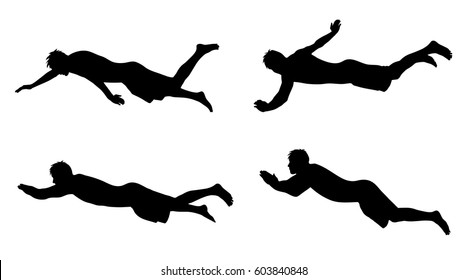 Vector silhouette of man who swim on white background.