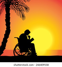 Vector silhouette of man who is in wheelchairs.