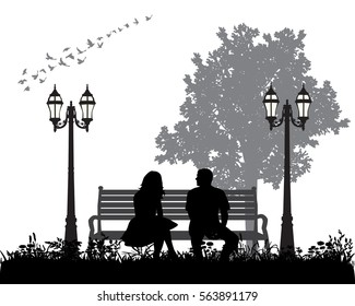 vector, silhouette man and woman sitting on a bench, resting in the Park