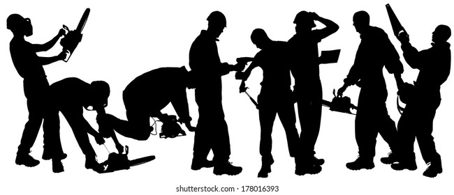 Vector silhouette of a man working with tools on a white background.
