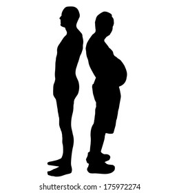 Vector silhouette of men on a white background.