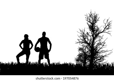 Vector silhouette of men who play football.