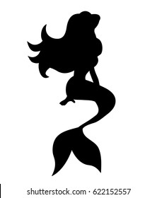 Vector, silhouette of a mermaid