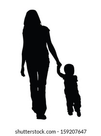 Vector silhouette of mom and baby walking