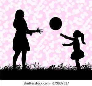 Vector silhouette of the mom with her daughter playing in the ball