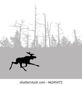 vector silhouette moose on wood background
