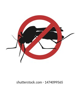 Vector silhouette mosquito on a white background, sign anti insects, insecticide