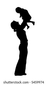 vector silhouette mother with baby