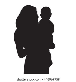 vector silhouette mother with child on hands