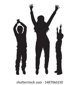 Vector silhouette of mother with her children on white background. Symbol of family ,son, siblings, happy, dance.