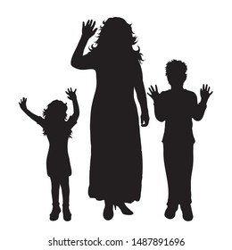 Vector silhouette of mother with her children on white background. Symbol of family, daughter, son, sister, brother, siblings, salute.