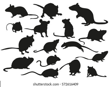 vector silhouette mouse rat isolated set