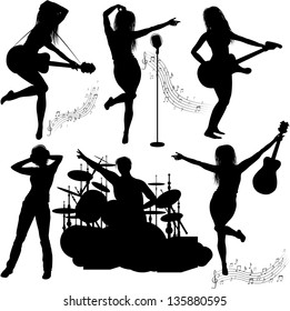 Vector Silhouette of musical band