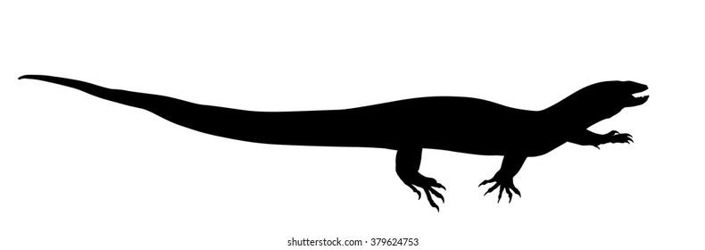 Vector silhouette of Nile Monitor Lizard.