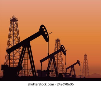 Vector. Silhouette of oil pumps and rigs on sunset background