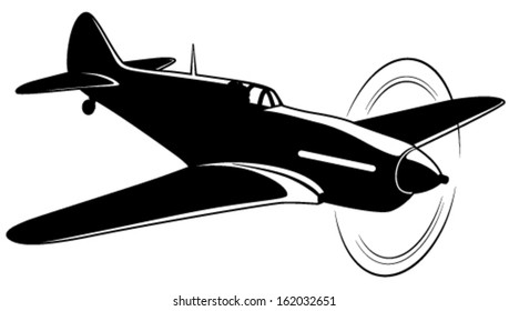 Vector silhouette of the old fighter airplane