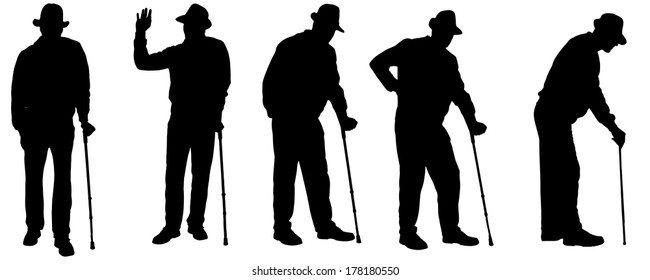 Vector silhouette of the old man on a white background.