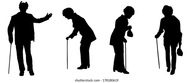 Vector silhouette of the old people on a white background.