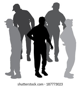 Vector silhouette of old people on a white background.