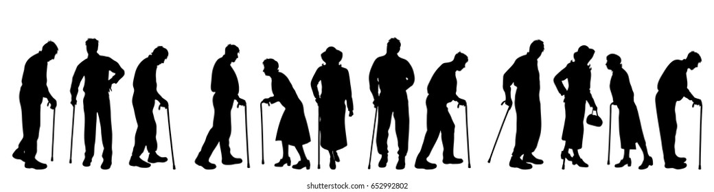 Vector silhouette of old people on white background.