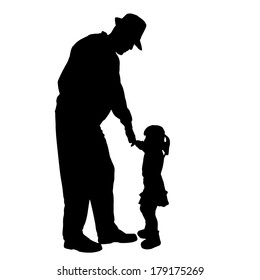 Vector silhouette of an old person with a child on a white background.